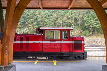 forest railway: Red train on railway forest in Alishan National Scenic Area, Taiwan.