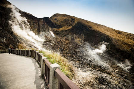 Xiaoyoukeng active crater in Datun post volcano area located in Yangmingshan National Park, Taipei, Taiwan.
