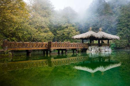De oudste zuster vijver in Alishan National Scenic Area, Taiwan. Stockfoto