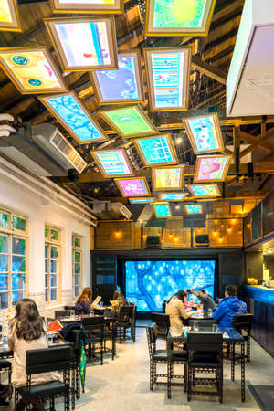 restuarant: Taipei Taiwan - February 27, 2016 : Jimmy Liao - Never Ending Story Restuarant in Taipei. Jimmy Liao is a Taiwanese illustrator as well as a picture book  writer such as A Chance of Sunshine ,  Turn Left, Turn Right, A Fish With A Smile and etc.