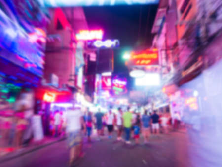 prostitution: Blur background image of people on a Walking Street Pattaya. Walking Street is a popular tourist attraction. Stock Photo