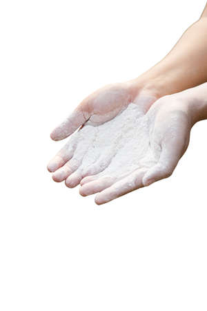 talcum: Baby powder product with talcum on woman hands isolated Stock Photo