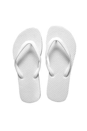 White sandal on white background. Flip flop sandal isolated. Rubber flip flop beach sandal. 版權商用圖片