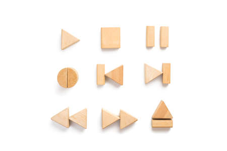 eject icon: Wood block arranging as multimedia player icon set. Stock Photo