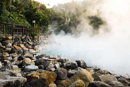 Hete stoom bij thermische vallei, Beitou, Taipei, Taiwan Stockfoto