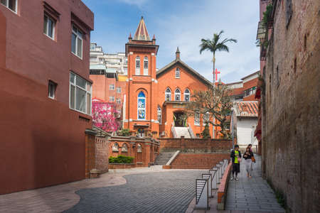 congregation: Tamsui, Taiwan - March 05, 2016 : Tamsui Presbyterian Church in New Taipei City. The chapel still holds the biggest congregation in Tamsui, with more than 300 devotees worshipping here every Sunday. Editorial