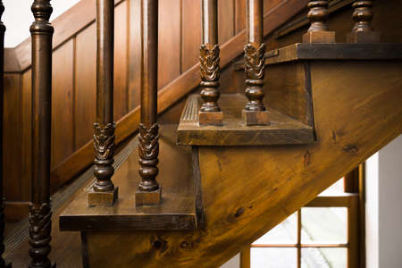 Wood Stairs in Antique Home Stock Photo