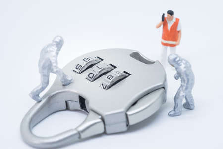 lock concept: Business security concept. Technician specialist team solving key lock problem.