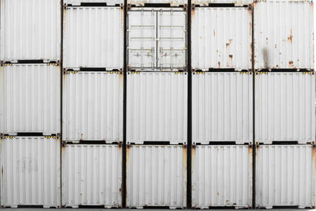 tonne: Old white container stacking background. Stock Photo