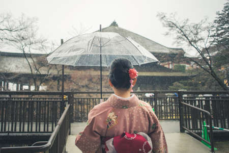 tradition: Tourist wear traditional Japanese clothing Kimono traveling at Kiyomizu dera