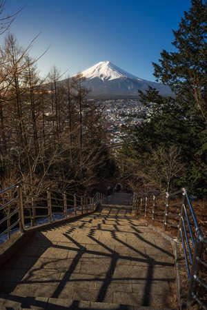 seaonal: Fuji mountain with stairway to Chureito Pagoda Stock Photo