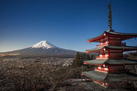 sengen: Fuji mountain with Red Chureito Pagoda Stock Photo