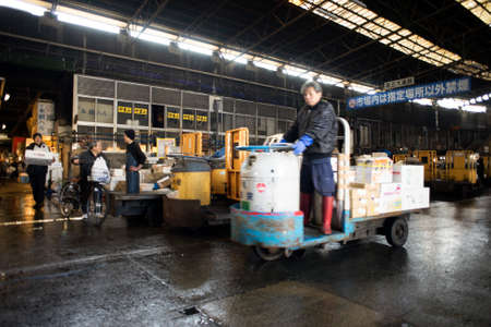 Tokyo, Japan - February 17, 2017 : Tsukiji Fish Market. The market is one of biggest fish market in the world.