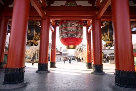 Tokyo, Japan - February 16, 2017 : Sensoji Temple in the morning with tourist