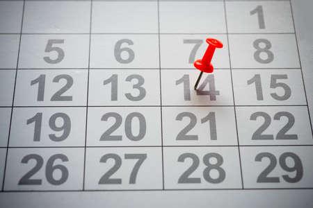 Calendar with red pin Stok Fotoğraf