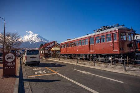 Yamanashi, Japan - Fevruary 14, 2017 : Mount Fuji at Kawaguchigo Station.