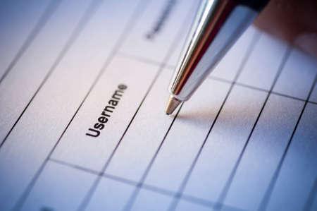 IT Security Management Concept. Pen writing in Username table form. Reklamní fotografie