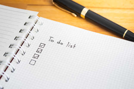 To do list with checkbox on notebook paper