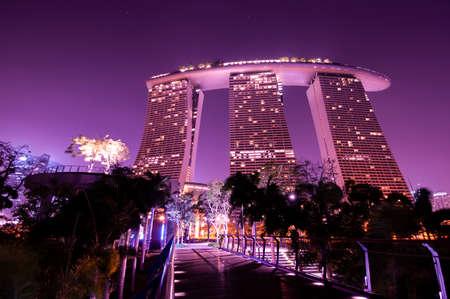 Marinabay, Singapore - March 10, 2014 : Marinabay Sands at Garden by Bay at night.