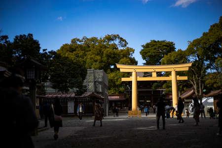 Golden Torii Gate at Meiji Jingu shrine, Tokyo Redakční