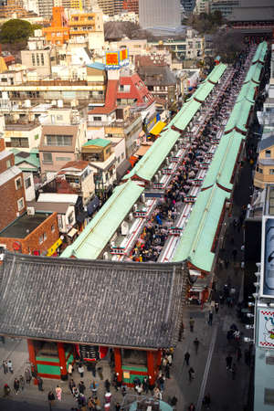 Tokyo, Japan - February 16, 2017 : Aerial viewSensoji Temple in the morning with tourist