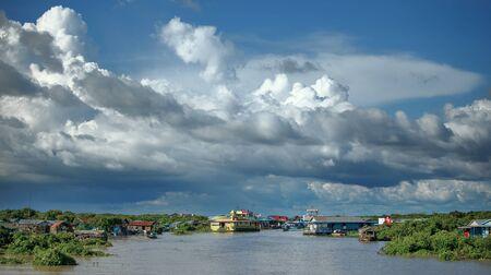 tonle sap: Floating fishing village in Cambodia  Tonle sap lake