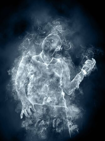 the man from a smoke on a black background Stock Photo - 18811163
