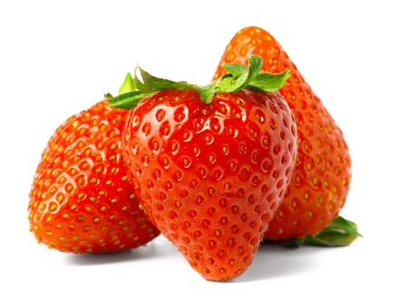three strawberries is isolated on a white background photo