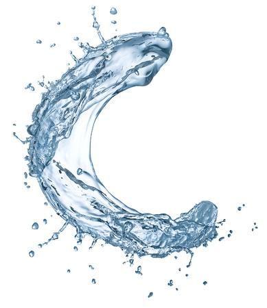 bubble alphabet: Water splashes letter C isolated on white background  Stock Photo