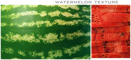 Four structures of a water-melon. For designers, without strong sharpness.