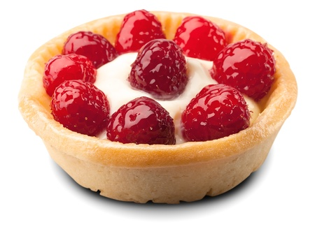 sweet basket with cream and raspberries, over white  photo