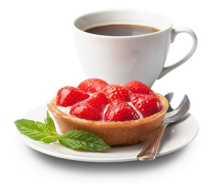 sweet basket with cream and strawberries, over white