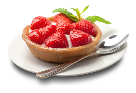 sweet basket with cream and strawberries, over white  Фото со стока