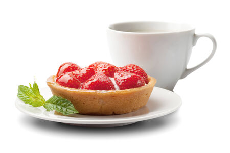 sweet basket with cream and strawberries, over white photo