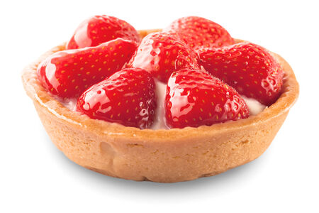 sweet basket with cream and strawberries, isolated on white  photo