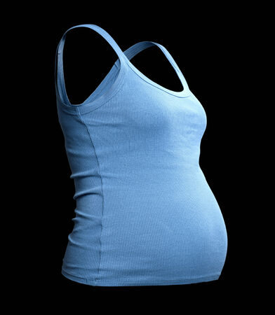 undershirt: undershirt of the pregnant girl. invisible.isolated over black  Stock Photo