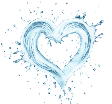 Heart from water splash with bubbles, love symbol.