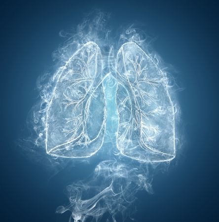 Human lungs and bronchi made of smoke on blue background.