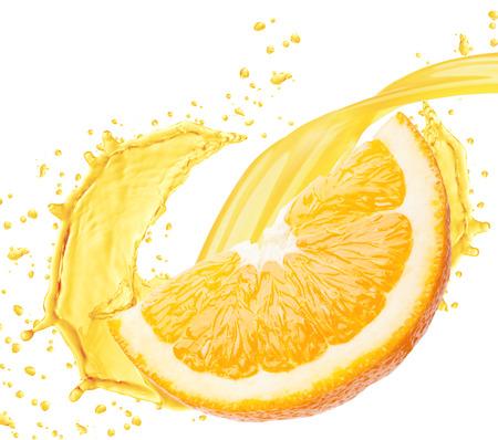 orange cut: Orange juice splashing isolated on white background  Stock Photo