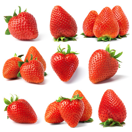 set from strawberry berries. isolated on white