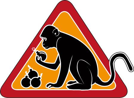 signe d'avertissement. singe avec une bombe. pas le bon choix. isolé sur blanc