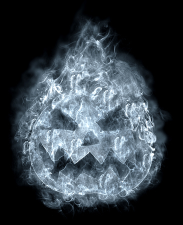 terrible: terrible halloween pumpkin in the smoke, flying on a black background Stock Photo