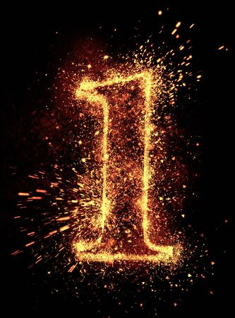 sparklet: Alphabet spark is isolated on black background Stock Photo