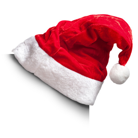 1 つのサンタ クロースの赤い帽子白い背景で隔離。白い正方形の角に 写真素材