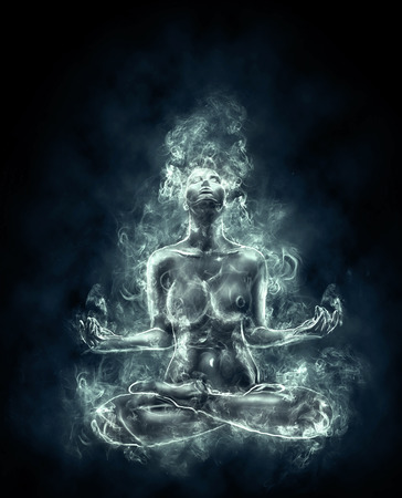 naked woman sitting: Nude woman meditating. Art with smoke