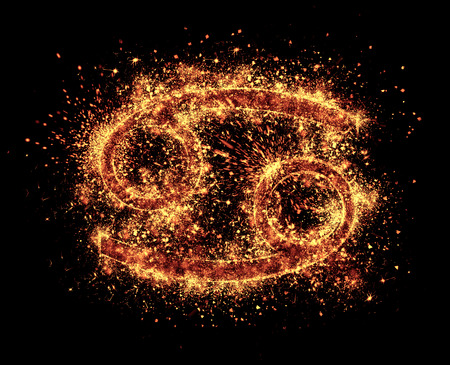 sparklet: cancer symbol spark is isolated on black background Stock Photo