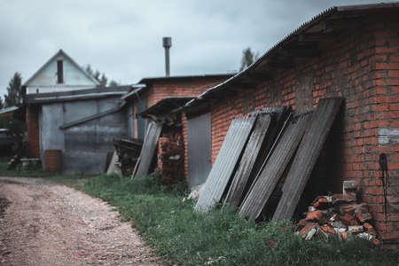 overcast: village houses made of brick. overcast.
