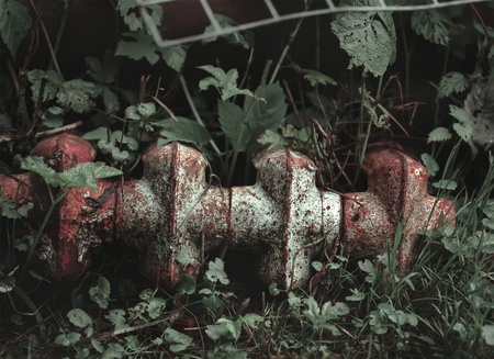 rust covered: Old iron radiator covered with rust and paint lying in the grass Stock Photo