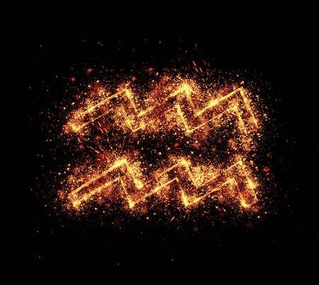 sparklet: aquarius symbol spark is isolated on black background