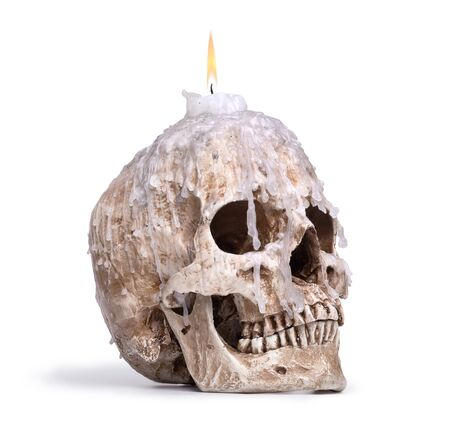 candlestick from human skull isolated on white background Stock Photo